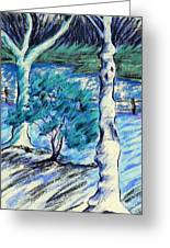 Central Park Blues Greeting Card by Elizabeth Fontaine-Barr