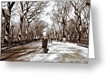 Central Park Kiss Greeting Card by John Rizzuto