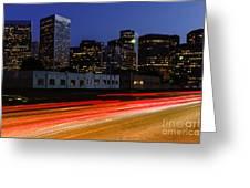 Century City Skyline At Night Greeting Card by Paul Velgos