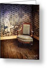 Chair In Abandoned Room Greeting Card by Jill Battaglia