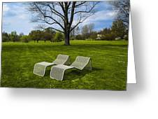 Chaises Longues On Grass Greeting Card by Ingo Jezierski
