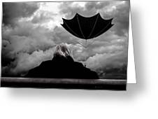 Chance Of Rain   Broken Umbrella Greeting Card by Bob Orsillo
