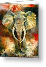 Charging African Elephant Greeting Card by Christiaan Bekker