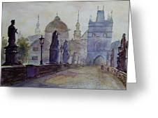 Charles Bridge Prague Greeting Card by Xueling Zou