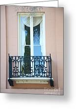 Charleston Pink White Architecture - Charleston Historical District French Quarter Window Balcony Greeting Card by Kathy Fornal