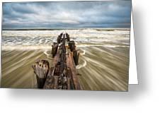 Charleston Sc Folly Beach Coastal Atlantic Ocean Greeting Card by Dave Allen