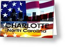 Charlotte Nc Patriotic Large Cityscape Greeting Card by Angelina Vick