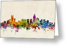 Charlotte North Carolina Skyline Greeting Card by Michael Tompsett