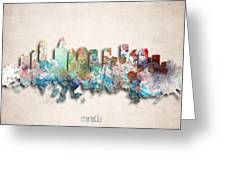 Charlotte Painted City Skyline Greeting Card by World Art Prints And Designs
