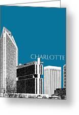 Charlotte Skyline 1 - Steel Greeting Card by DB Artist