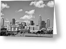 Charlotte Skyline In Black And White Greeting Card by Jill Lang