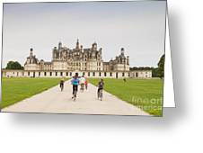 Chateau Chambord And Cyclists Greeting Card by Colin and Linda McKie