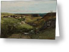 Chateau Dornans Greeting Card by Gustave Courbet