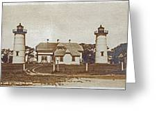 Chatham Twin Lights 1908-18 Greeting Card by Skip Willits