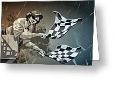 Checkered Flag Grunge Monochrome Greeting Card by Frank Ramspott