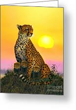 Cheetah And Cubs Greeting Card by MGL Studio - Chris Hiett