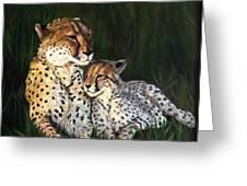 Cheetahs Greeting Card by LaVonne Hand