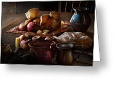 Chef - Food - A Tribute To Rembrandt - Apples And Rolls  Greeting Card by Mike Savad