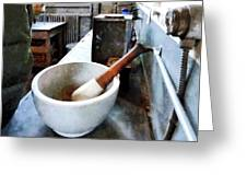 Chemist - Mortar And Pestle In Lab Greeting Card by Susan Savad
