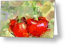 Cherries Abstract Greeting Card by Yury Malkov