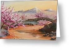 Cherry Blossoms In The Mist Greeting Card by Joe Mandrick