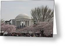 Cherry Blossoms With Jefferson Memorial - Washington Dc - 01132 Greeting Card by DC Photographer
