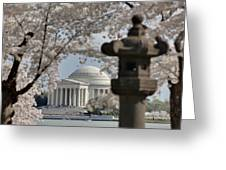 Cherry Blossoms With Jefferson Memorial - Washington Dc - 011325 Greeting Card by DC Photographer