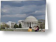 Cherry Blossoms With Jefferson Memorial - Washington Dc - 011341 Greeting Card by DC Photographer