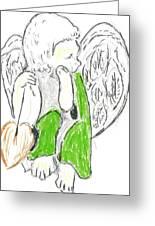 Cherub With Leaf Greeting Card by Michael Snincsak