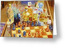 Chess And Tequila Greeting Card by Mary Helmreich