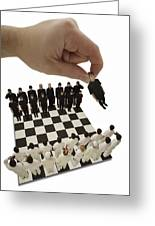 Chess Being Played With Little People Greeting Card by Darren Greenwood