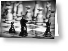 Chess Game in black and white Greeting Card by Paul Ward