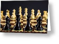 Chess Pieces On Board Greeting Card by Elena Elisseeva