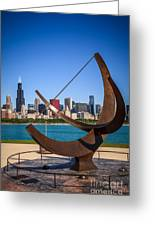 Chicago Adler Planetarium Sundial And Chicago Skyline Greeting Card by Paul Velgos