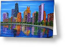 Chicago City Lights #1 Greeting Card by James Dunbar