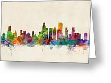 Chicago City Skyline Greeting Card by Michael Tompsett