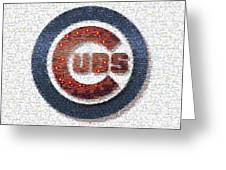Chicago Cubs Mosaic Greeting Card by David Bearden