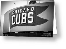 Chicago Cubs Wrigley Field Sign Black And White Picture Greeting Card by Paul Velgos