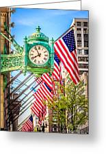 Chicago Great Clock On Macys Building Greeting Card by Paul Velgos