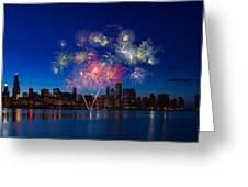Chicago Lakefront Fireworks Greeting Card by Steve Gadomski