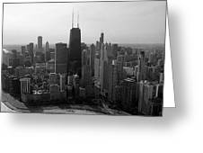 Chicago Looking South 01 Black And White Greeting Card by Thomas Woolworth