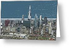 Chicago Looking West In A Snow Storm Digital Art Greeting Card by Thomas Woolworth