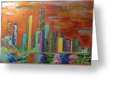 Chicago Metallic Skyline Greeting Card by Char Swift