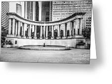 Chicago Millennium Monument In Black And White Greeting Card by Paul Velgos
