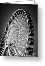 Chicago Navy Pier Ferris Wheel In Black And White Greeting Card by Paul Velgos