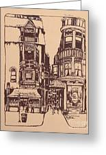 Chicago. Pipers Alley On Wells Street Greeting Card by Robert Birkenes