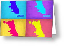 Chicago Pop Art Map 1 Greeting Card by Naxart Studio