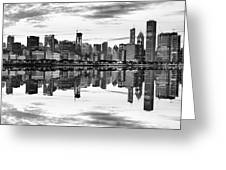 Chicago Reflection Panorama Greeting Card by Donald Schwartz