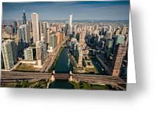 Chicago River Aloft Greeting Card by Steve Gadomski
