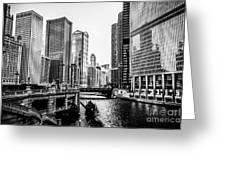 Chicago River Buildings In Black And White Greeting Card by Paul Velgos